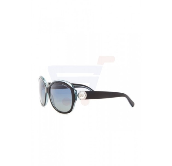 Michael Kors Oversized Black/Blue Frame & Blue Green Polarized Mirrored Sunglasses For Woman - MK6004-30011H