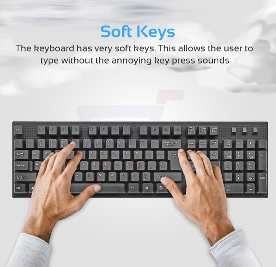 Promate Keyboard and Mouse Combo, Super-Slim Typewriter Styled 2.4Ghz Wireless Full-Sized Keyboard and Mouse Combo with Silent Keys and Auto Sleep for PC, Windows, Mac iOS, Laptops, KeyMate-3.BLK/E