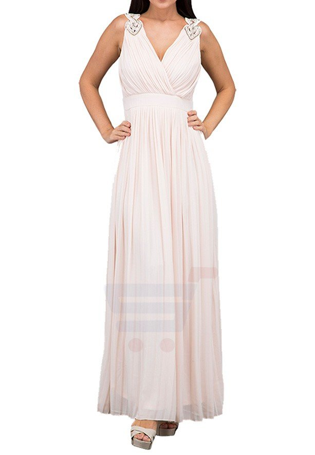 TFNC London Valentina Maxi Evening Dress Nude - CTT 6157 - XXL