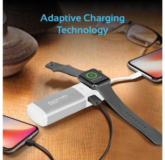 Promate Apple Watch Power Bank Charger, Apple MFi Certified 6700mAh Charger Battery Pack for Apple Watch with Built-In Lightning Cable and Ultra-Fast USB Port for Apple Watch, iPhone, Samsung, AuraWatch Silver