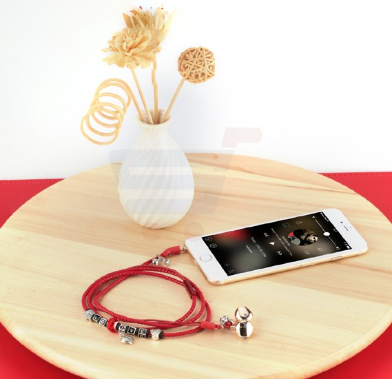 Promate Wristband Earbuds, Premium 3.5mm Leather Braided Pandora Beads Bracelet Style with Built-in Mic, Tangle Free Cord, Noise Cancelling and Magnetic Closure for Smartphones, Tablets, iPod, MP3, Laptop, Vogue-3.Red