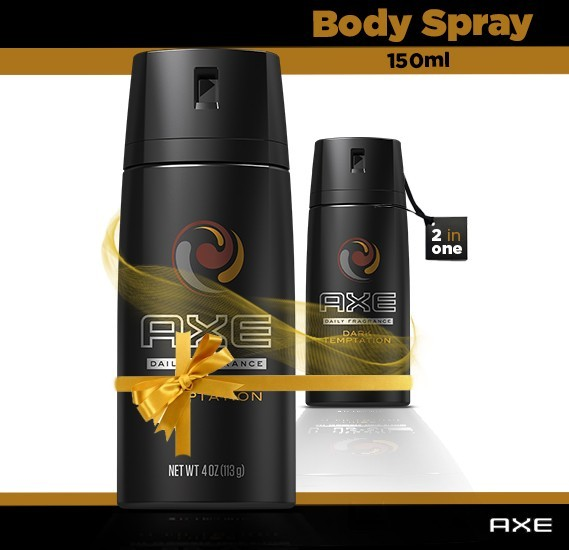 Axe Dark Temptation 2 in 1 Body Spray Pack 150ml.
