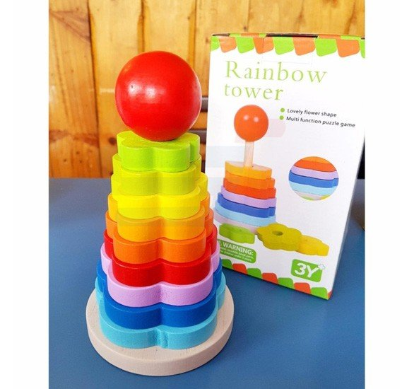 Rainbow Stacking Tower Wooden Toy - Educational and Therapeutic Toy for Kids