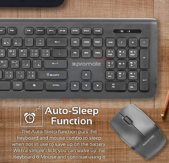 Promate Wireless Keyboard and Mouse Combo, Portable 2.4GHz Cordless Mouse and 104 Keys Wireless Keyboard with Nano USB Receiver for Desktop, PC, Windows, iOS, iMac, PROCOMBO-1.BLK/E