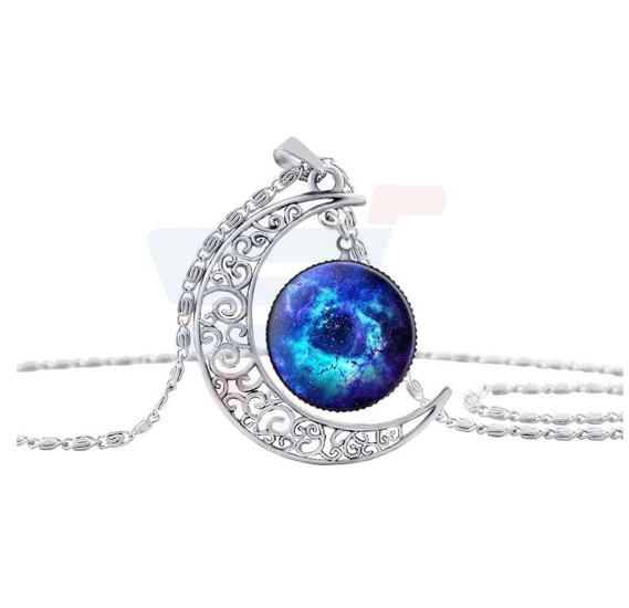 Moon Crescent Necklace For Women, Glaxy Pattern 1