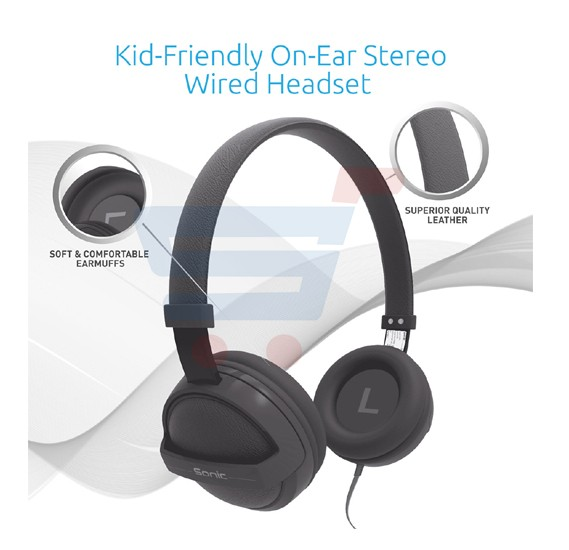 Promate Kid Friendly On-Ear Stereo Wired Headset for Mobile, PC and Laptop - Sonic.Grey