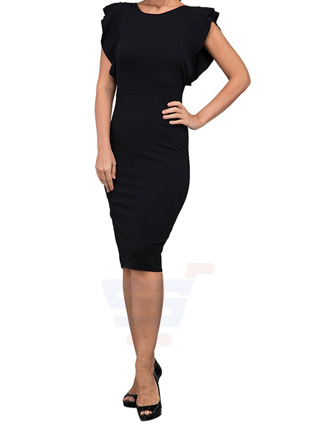 WAL G Italy Frill Sleeve Midi Casual Dress Black - MK 6232 - M