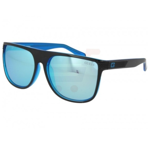 Guess Square Black Frame & Shiny blue Mirrored Sunglasses For Unisex - GU6837-01X