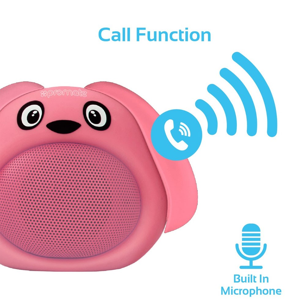 Promate Portable Wireless Kids Bluetooth Speaker, SNOOPY, Pink