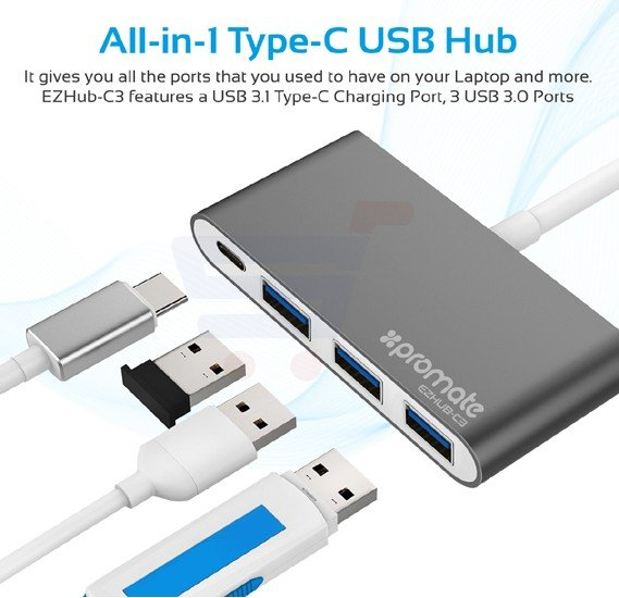 Promate USB Type-C Hub, Multi-Port Adapter with Sync and Charge Ultra-Fast 3 USB 3.0 Ports and USB-C Power Delivery Charging Port for MacBook Pro, Chromebook Pixel, HP Spectre X360, EZHub-C3.Grey