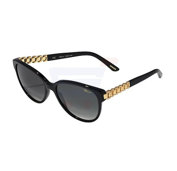 Chopard Oval Black Frame & Grey Mirrored Sunglass For Women - SCH150S-0700