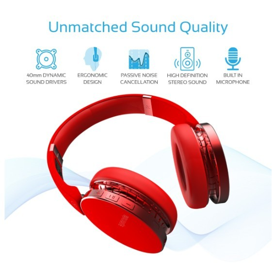 Promate Bluetooth Headphones, Lightweight Over Ear Foldable HiFi Stereo  Headset with Built-In Music Control, Microphone, HD Sound and Passive Noise