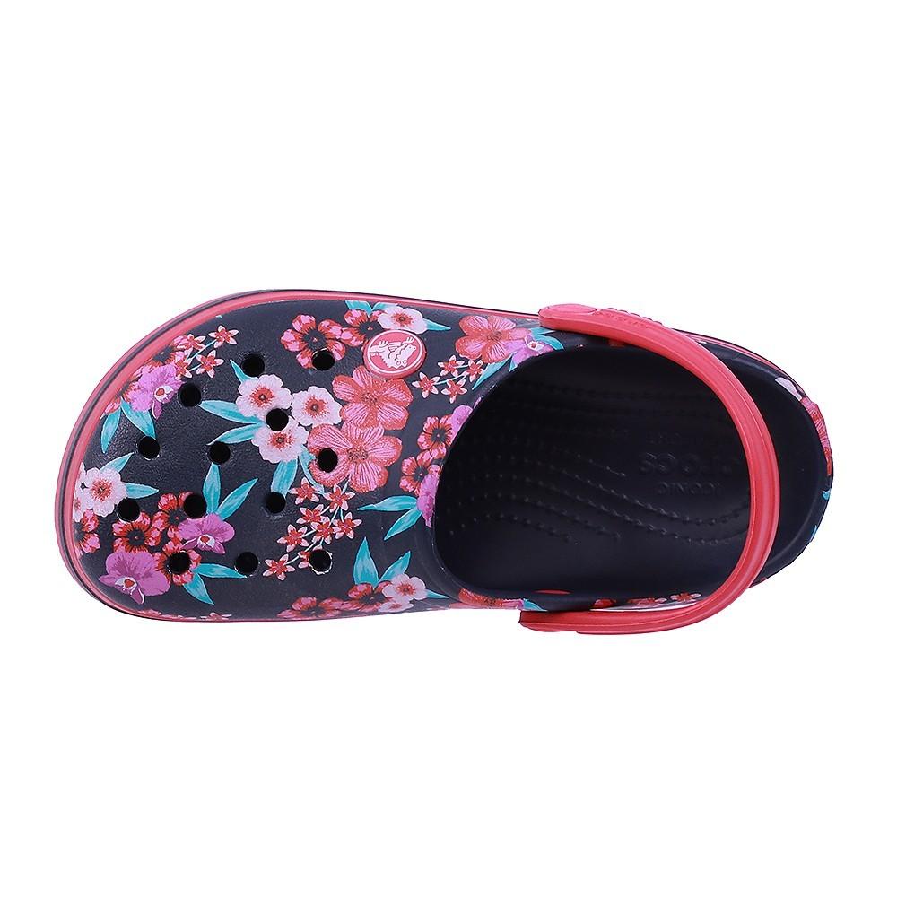 Crocs Kids Clogs Sandals Croc Band Flower Print Clog K Navy 205898-4KC, Size 34