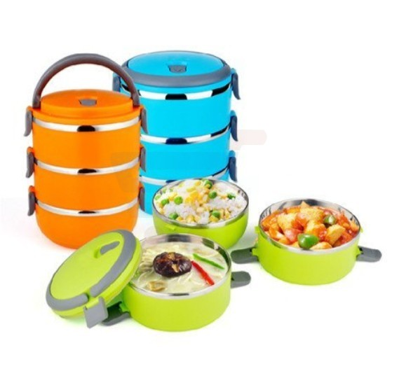 Goank Stainless Steel Home Unian 3 Layer Lunch Box Multicolor