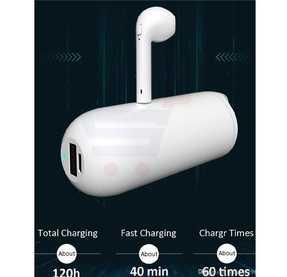 HBQ I9 Bluetooth Mini Mono Bluetooth Wireless Earphone Headset with 2 in 1 Charging Box and External Power Bank with Capacity of 3000mAh for all android and iOS devices - White