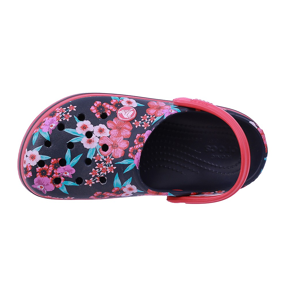 Crocs Kids Clogs Sandals Croc Band Flower Print Clog K Navy 205898-4KC