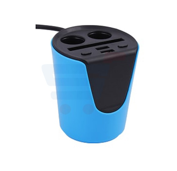 Dual USB Smart Car Charger with 2 Sockets, Cigarette Lighter
