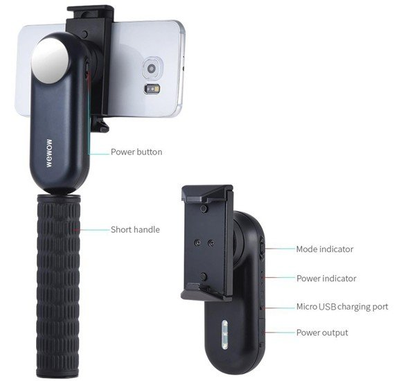 Wewoo Fancy Smart Phone Gimbal With Power Bank, Light And Mirror - Black,6970692400065-BK00065