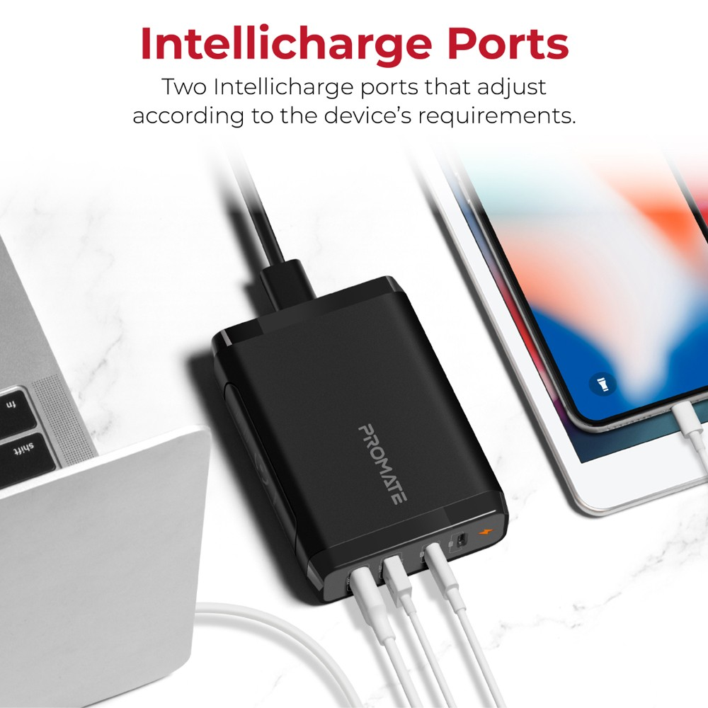 Promate USB-C Wall Charger with 60W and 18W Dual USB-C PD Port and Dual 2.4A USB Port, CenterPort-2PD75