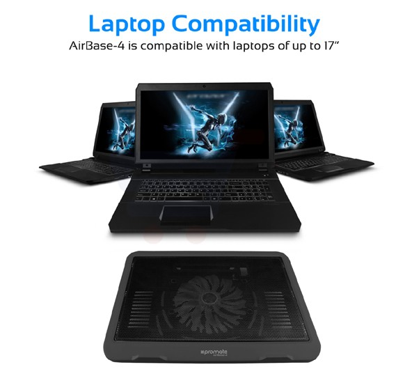 Promate Laptop Cooling Pad, Lightweight High-Speed Laptop Cooler with 1 Quiet Fan, Double Sides Built-In USB Port, LED Speed Display, Cable Organizer and Ani-Slip Grip for Laptops up to 17 Inch, AirBase-4.Black