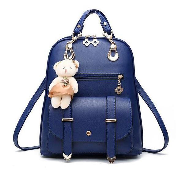 2 in 1 Vogue Star New Designer Women Backpack For Teens Girls-Blue & Red