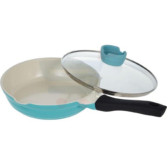 OKonig Bio and Eco Ceramic Fry Pan with lid 24 cm, Blue