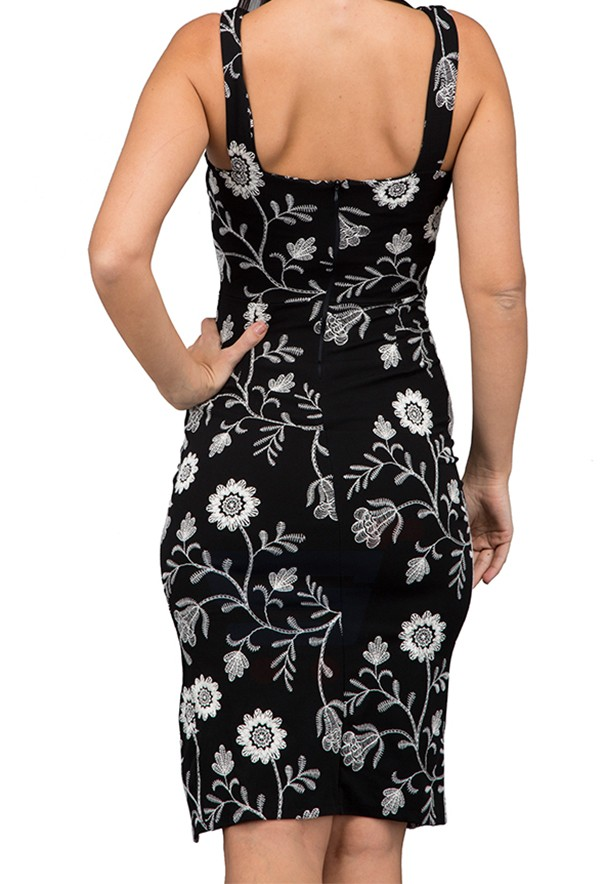 WAL G Italy Full Embroidered Midi Formal Dress Black - WG 6230 - XXL