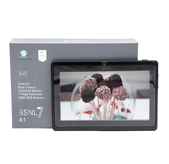 BSNL A1 Tablet 7 inch, Android 4.4.2, 16GB, 2GB DDR3, Wi-Fi, Quad Core, Dual Camera, Black