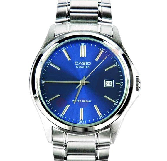 Casio Analog Watch For Women, Silver Stainless Steel With Blue Dial-LTP-1183A-2A