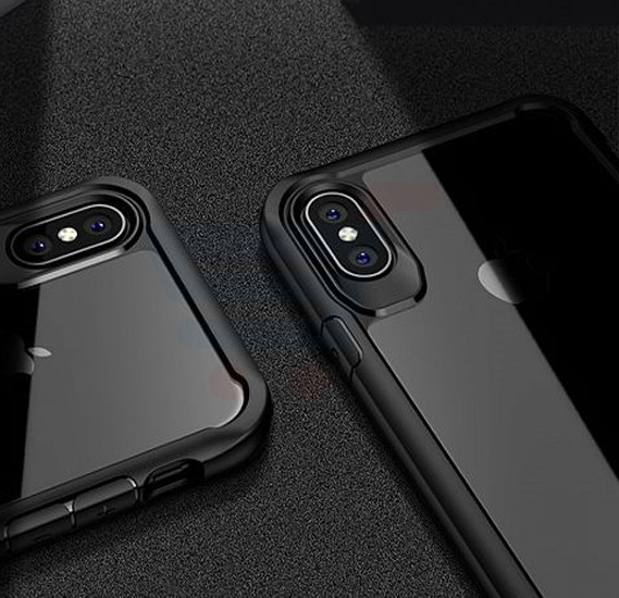 iPaky Shockproof Soft Silicone TPU Hard Transparent Back Case For iPhone X, Black