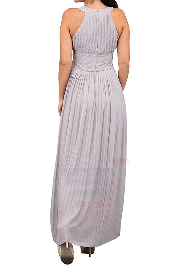 TFNC London Yasmine Hghneck Maxi Evening Dress Grey - CTT 6346 - L