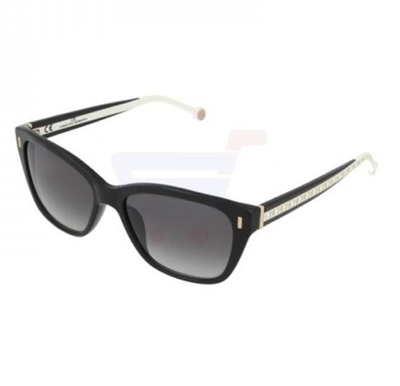 Carolina Herrera Aviator Black Frame & Black Gradient Mirrored Sunglasses For Women - SHE596-0700