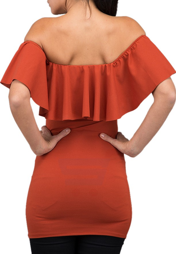 WAL G Italy Bardot Casual Dress Rust - CH 88040 - XL