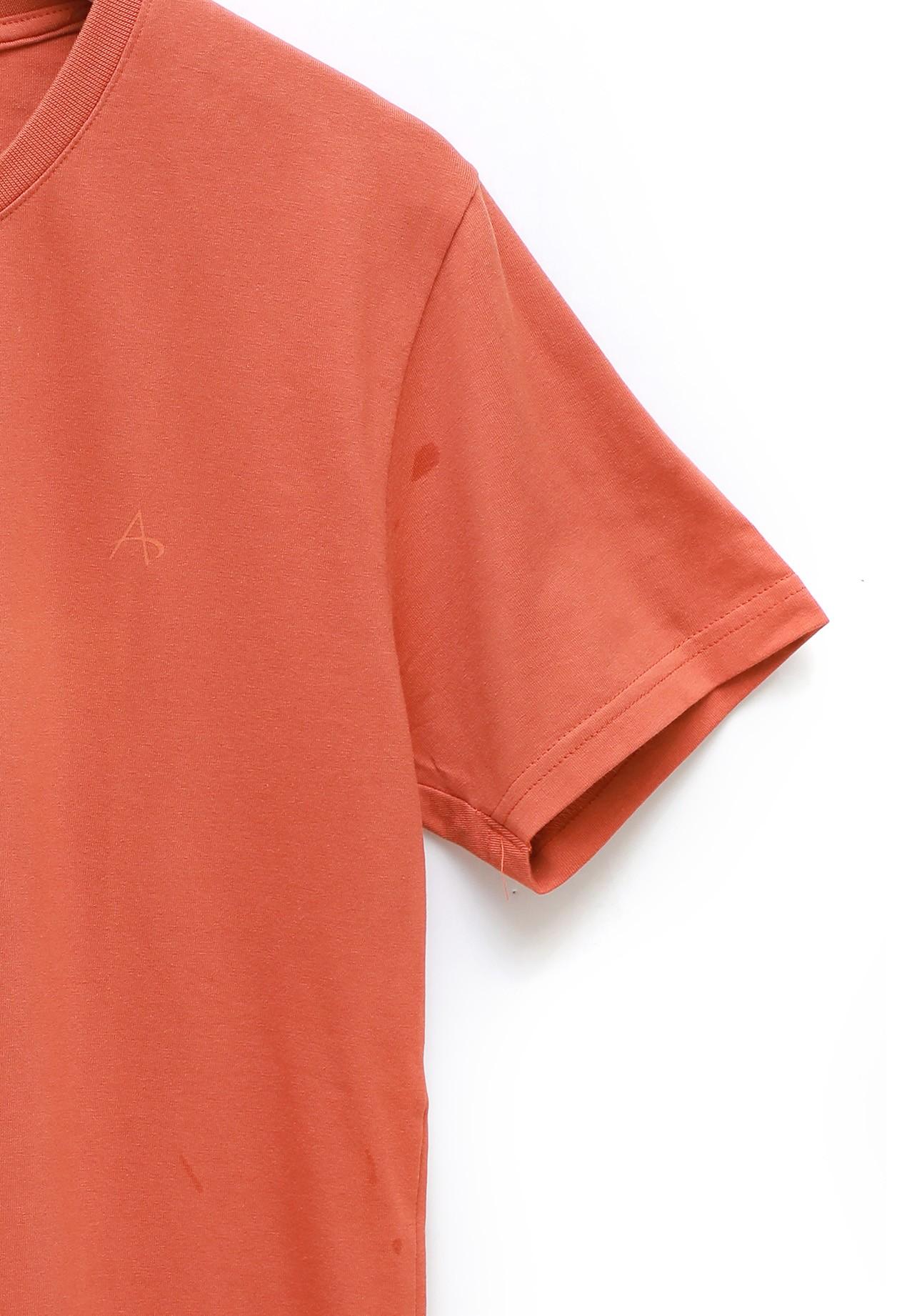 Address Orange Plain T-Shirt Round Neck, XXL