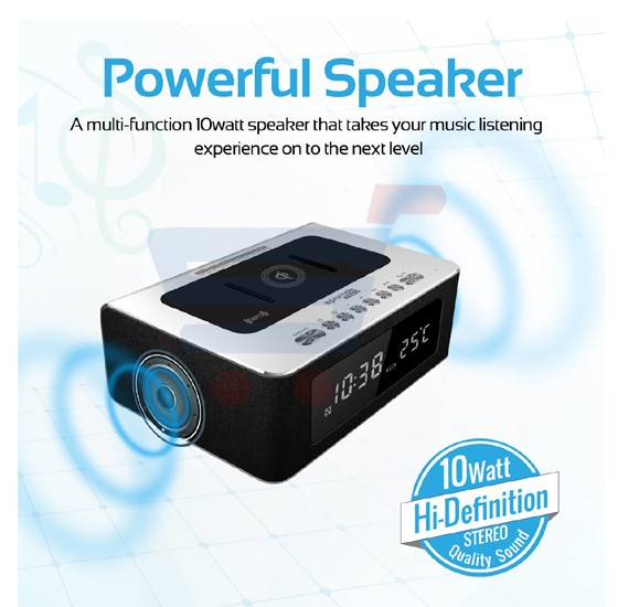 Promate Qi Wireless Charging Bluetooth Speaker, Multi-purpose NFC, FM Radio, Aux In, Built -in Mic, Temperature/Time Display, Alarm Clock with 2 USB Charging Ports TimeBase-2 Silver