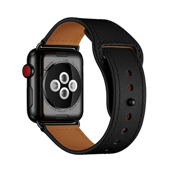 Promate Genio-38 Genuine Leather Apple Watch 38mm/40mm Strap, Black