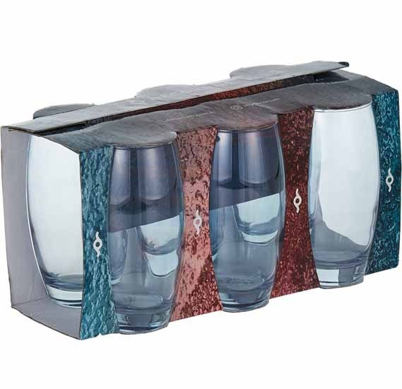Decorium Water Tumbler Ebruli 6 Pieces, Blue