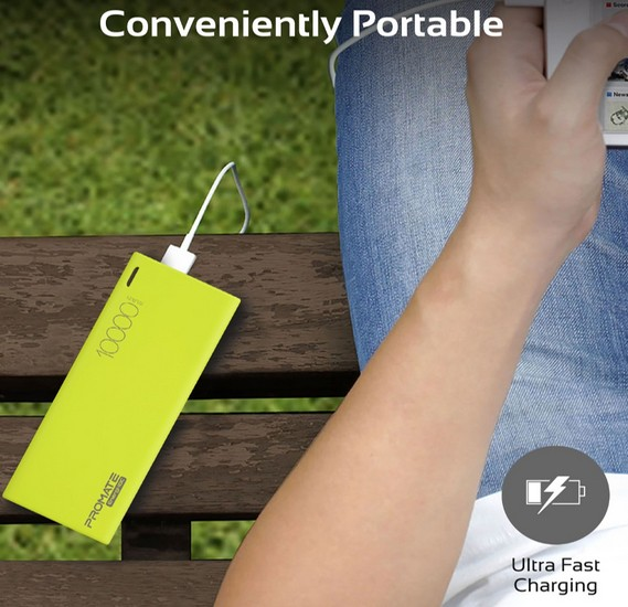 Promate USB C Power Bank, Ultra-Slim 10000mAh Input/Output Type-C External Battery Pack with 2.1A USB Charging Port and Over-Heating Protection for iPhone, Samsung, Pixel, Type-c iPad Pro, Energi-10C Green