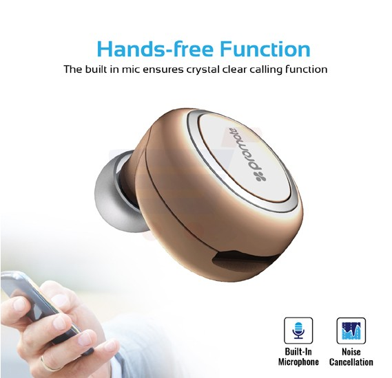 Promate Bluetooth Mono Headset, Universal Wireless Smallest Bluetooth Earbud with HD Sound Quality, Multi-Point Pairing, Noise Reduction and Built-In Mic for Phone X, 8, 8 Plus, Samsung Note 8, OnePlus 5T, Halo-2.Gold