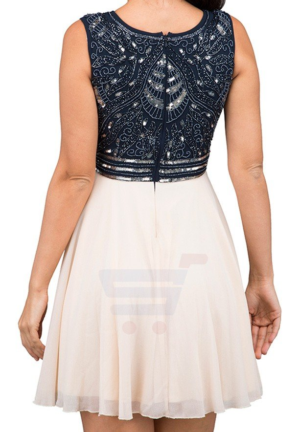 TFNC London Miami Party Dress Navy/Nude - ANQ 09370 - L