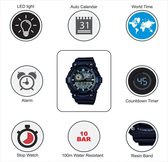 Casio AEQ-200W-2AVDF Youth-Combination Analog-Digital Blue Dial Mens Watch