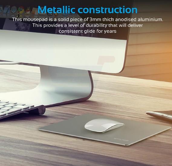 Promate Mouse Pad, Premium Ultra-Slim Aluminum Mouse Pad with Anti-Skid Rubber Base, MetaPad-2, Grey
