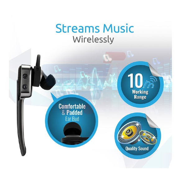 Promate Bluetooth Headset, Multipoint Pairing Headset for iPhone 7, Samsung S7 - Blueclass-2.Black