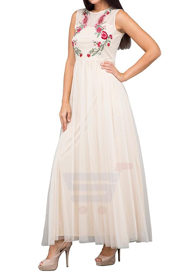 TFNC London Shappire Embroided Maxi Evening Dress Creme - LNB 31270 - L