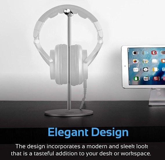 Promate Headphone Stand, Premium Aluminum Vertical Headphone Stand Holder with Anti-Slip Grip, Scratch Resistance and Space Saving Design for Sennheiser, Bose, Sony, Beats, Panasonic, Anchor-1 Silver