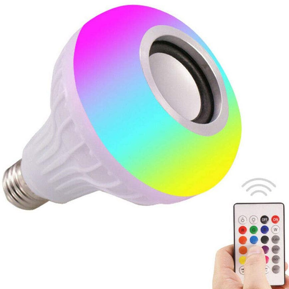 LED Light Bulb Bluetooth Music Play Speaker 12W E27 RGB Changing Lamp Smart Wireless Stereo Audio with Remote Control, White