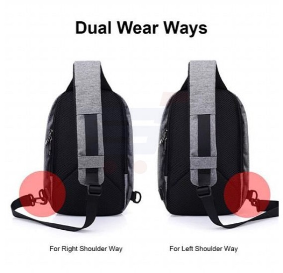 Anti-Theft USB Charging Dual Wear Way Cross Body Sling Travel Bag