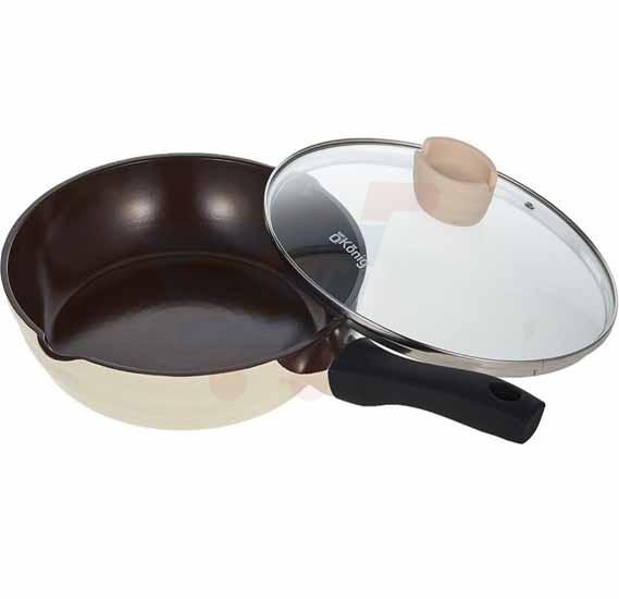 OKonig Bio and Eco Ceramic Fry Pan with lid 28 cm, Beige