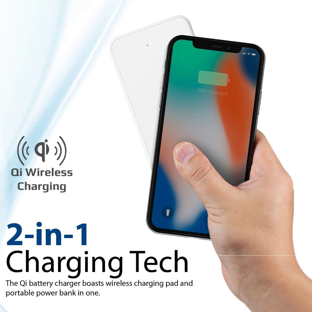 Promate Qi Wireless Charger Power Bank, Portable 10000mAh Fast Charging Portable Charger with Type-C, AuraVolt-10+ White