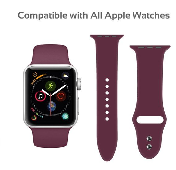 Promate Oryx-42ML Sport Silicone Apple Watch 42mm/44mm Strap, Maroon